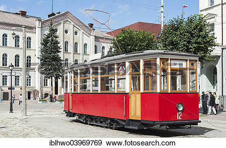 """Stock Photograph of """"Historic tram, technical monument, in the."""