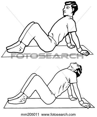 Clipart of Exercise, head tilt and chest tilt mm205011.