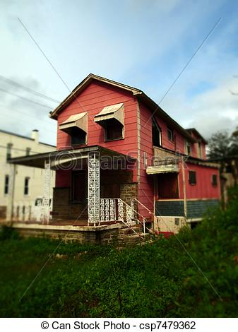 Stock Photo of Old Pink House in Tilt Shift.
