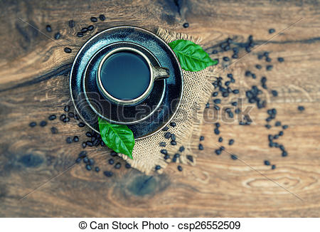 Stock Photography of Black coffee with beans. Retro style with.