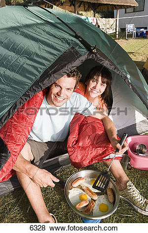 Pictures of Couple sitting inside dome tent, man cooking fried.