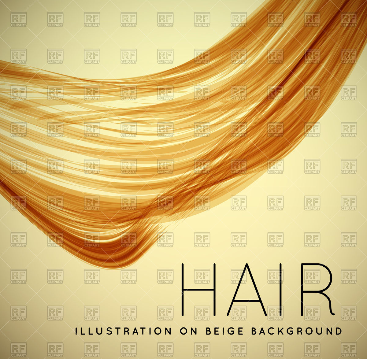 Close up of long human hair with tilt shift effects Vector Image.