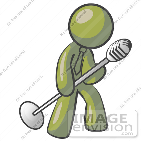 Clip Art Graphic of an Olive Green Guy Character Singing and.
