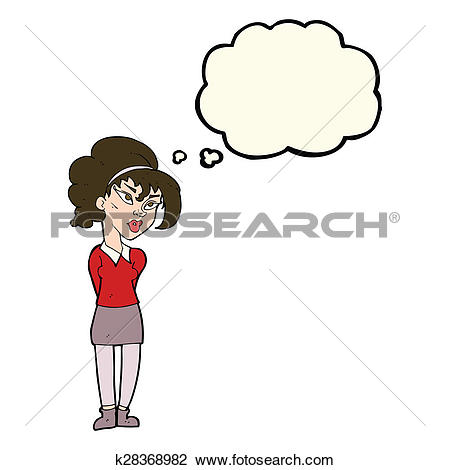 Clip Art of cartoon pretty girl tilting head with thought bubble.