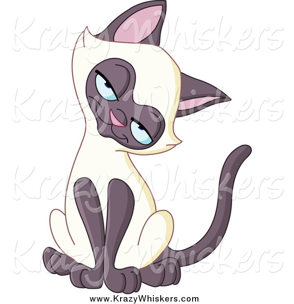 Critter Clipart of a Siamese Kitten Tilting Its Head and Smiling.