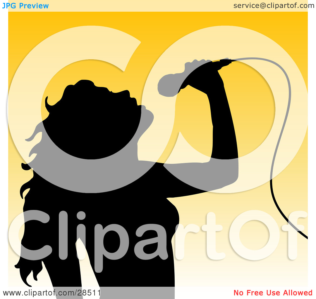Clipart Illustration of a Black Silhouetted Woman Tilting Her Head.