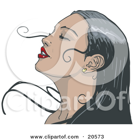 Clipart Illustration of a Black Haired Woman Wearing Red Lipstick.