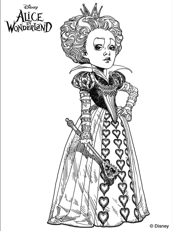 Tim Burton\'s Alice in Wonderland coloring page..