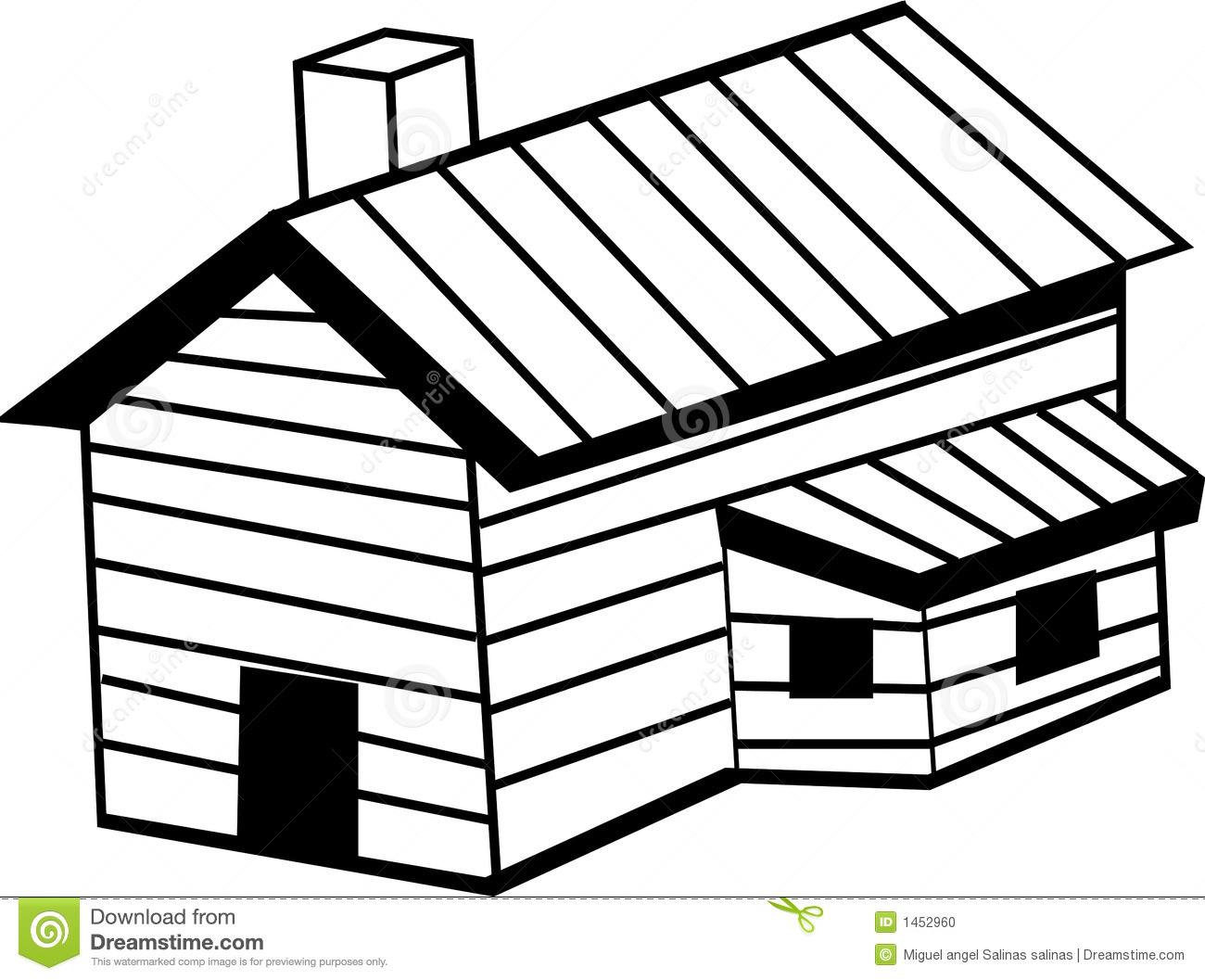 Wooden Cabin Vector Illustration Stock Photo.