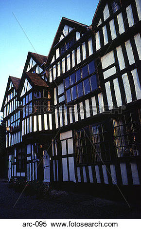 Stock Image of Tudor Timber Framed Building UK arc.
