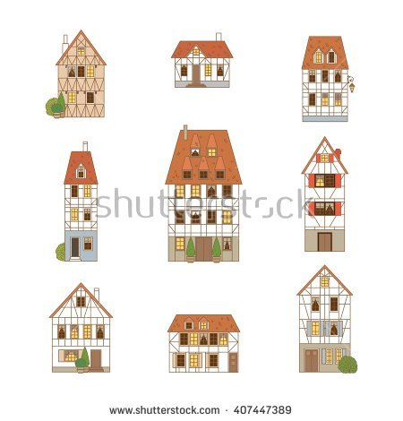Timber framed houses clipart - Clipground