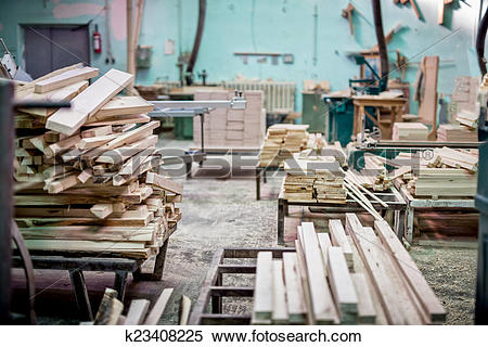 Stock Image of Furniture industrial factory with timber storage.
