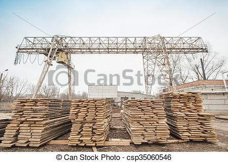 Stock Photo of storage timber crane lumber industry csp35060546.