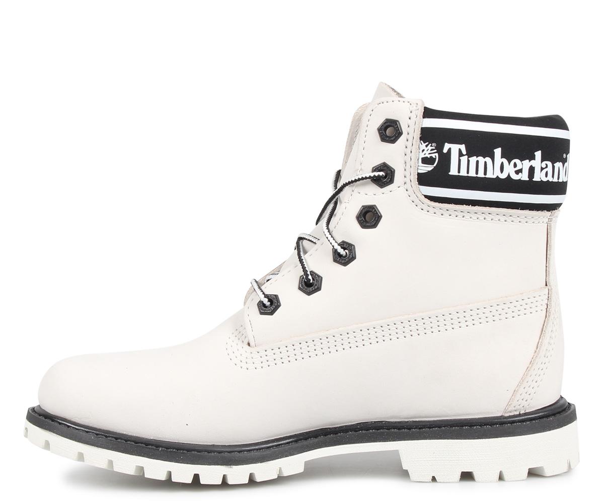 Timberland WOMENS 6INCH LOGO COLLAR WATERPROOF BOOTS Timberland boots  Lady\'s 6 inches white white A24JJ [198].