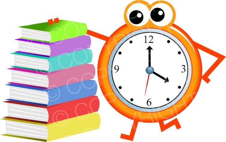 Time for Reading, Mr Clock Clip Art Illustration.
