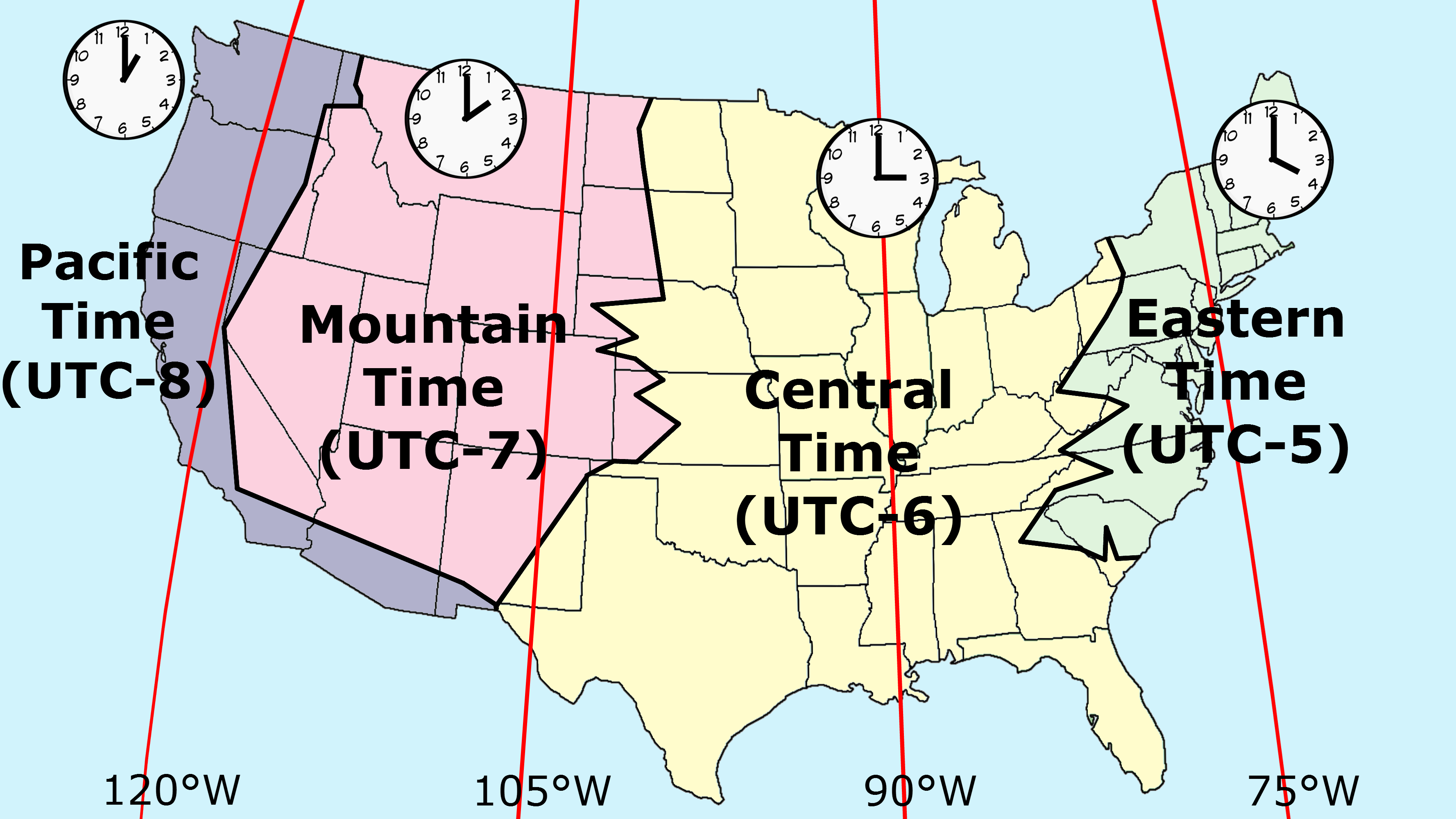 Time zones in the United States in 1913 [OC] [3555x2000.