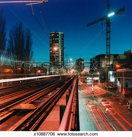 Stock Images of high angle time lapse view of traffic on a loading.
