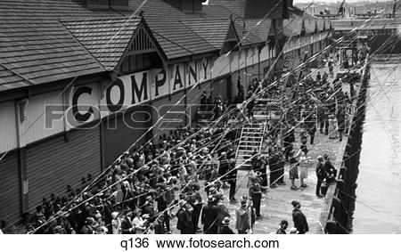 Stock Images of 1920S 1930S Dock At Sailing Time Streamers Crowd.