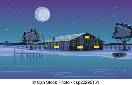 Clipart Vector of Cabin on the Lake.