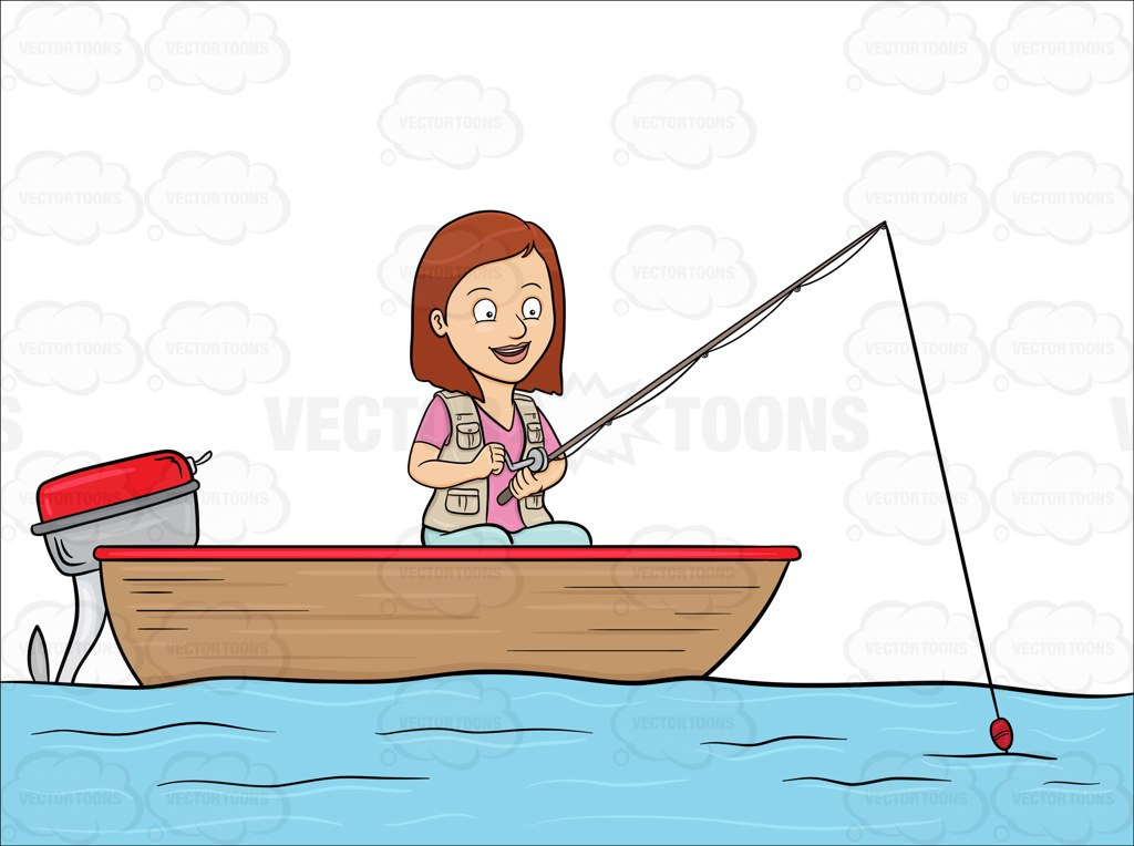 A Woman Enjoys Her Time In A Motor Boat While Fishing On The Lake.