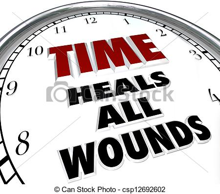 Stock Illustration of Time Heals All Wounds Clock Saying.
