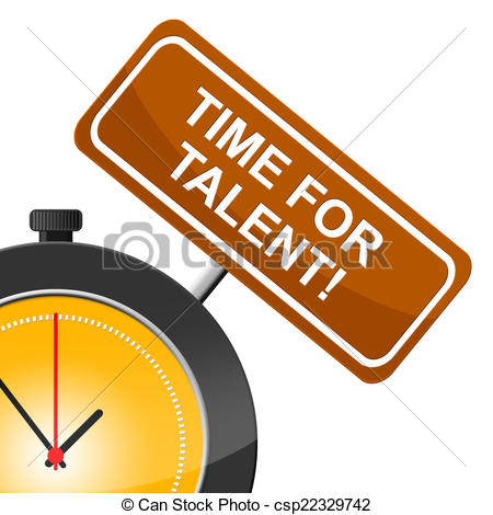 Drawing of Time For Talent Represents Strong Point And Skill.