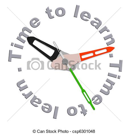Pictures of Time to learn clock indicating school time or study.