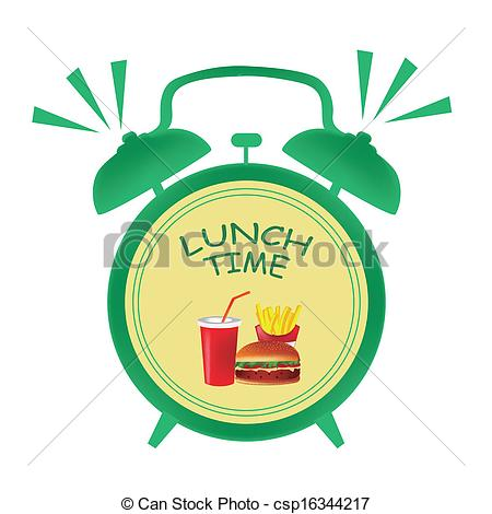 Vector Clip Art of lunch time clock.