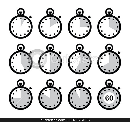 Time, clock, stopwatch vector icons set stock vector.