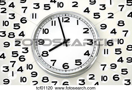 Stock Photography of Wall clock, time measurement, close up.