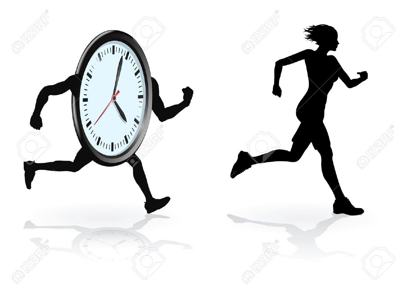 Running Against The Clock Conceptual Design. Woman Trying To.