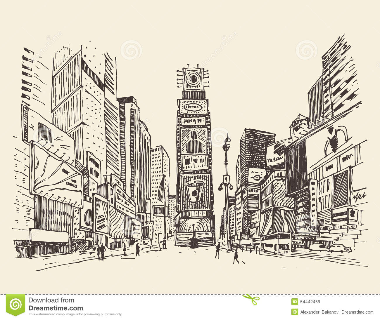 Times Square Stock Illustrations.