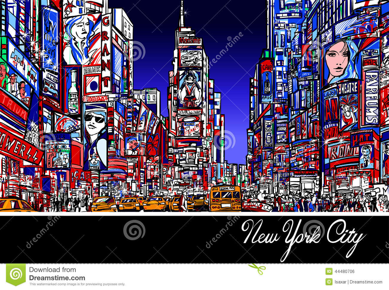 Times Square In New York At Night Stock Vector.