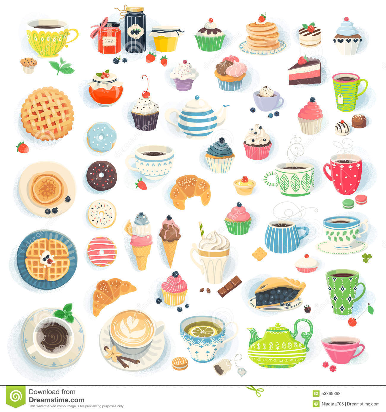 Tea Time Stock Vector.