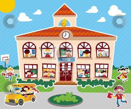 Back To School Time Stock Vector Clipart Time To Go Back School.