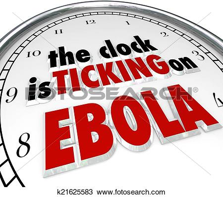 Stock Photo of Clock Ticking on Ebola Time Stop Deadly Disease.