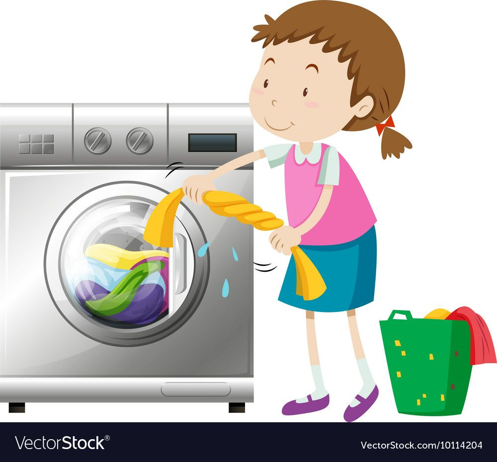 Girl doing laundry with washing machine Royalty Free Vector.