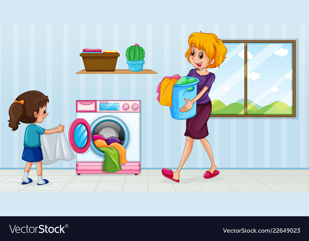 Mother and daughter doing laundry.