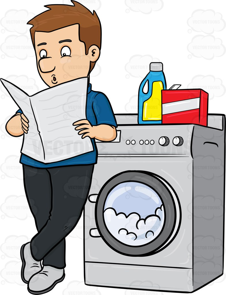 Man Doing Laundry Clipart.