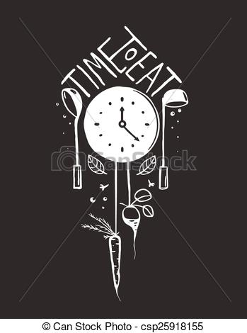 Clipart Vector of Time to Eat Sign and Label Monochrome Design on.