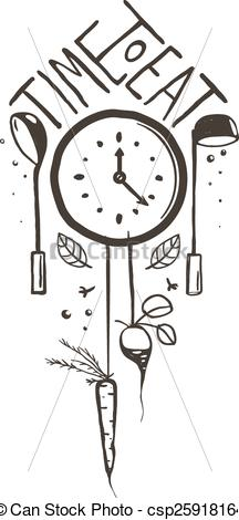 Clip Art Vector of Time to Eat Sign and Label One Color Design on.