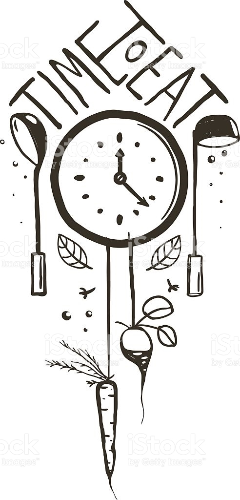 Time To Eat Sign And Label One Color Design On stock vector art.