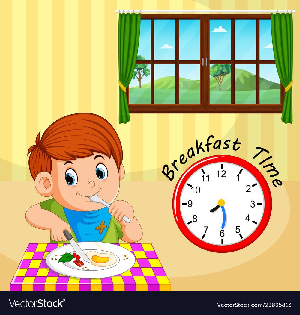A boy breakfast time.