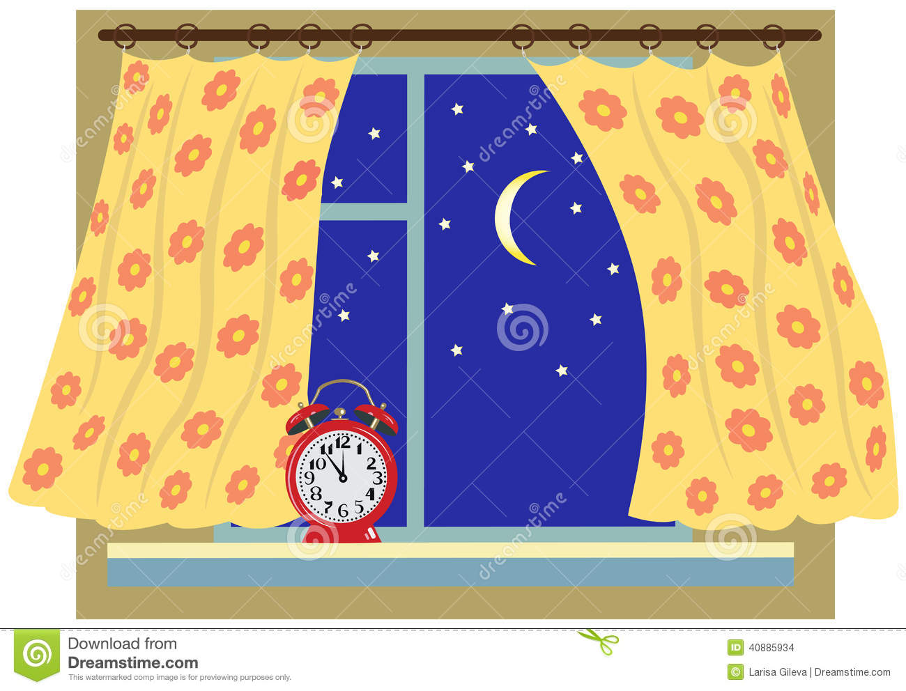 Night window clipart.