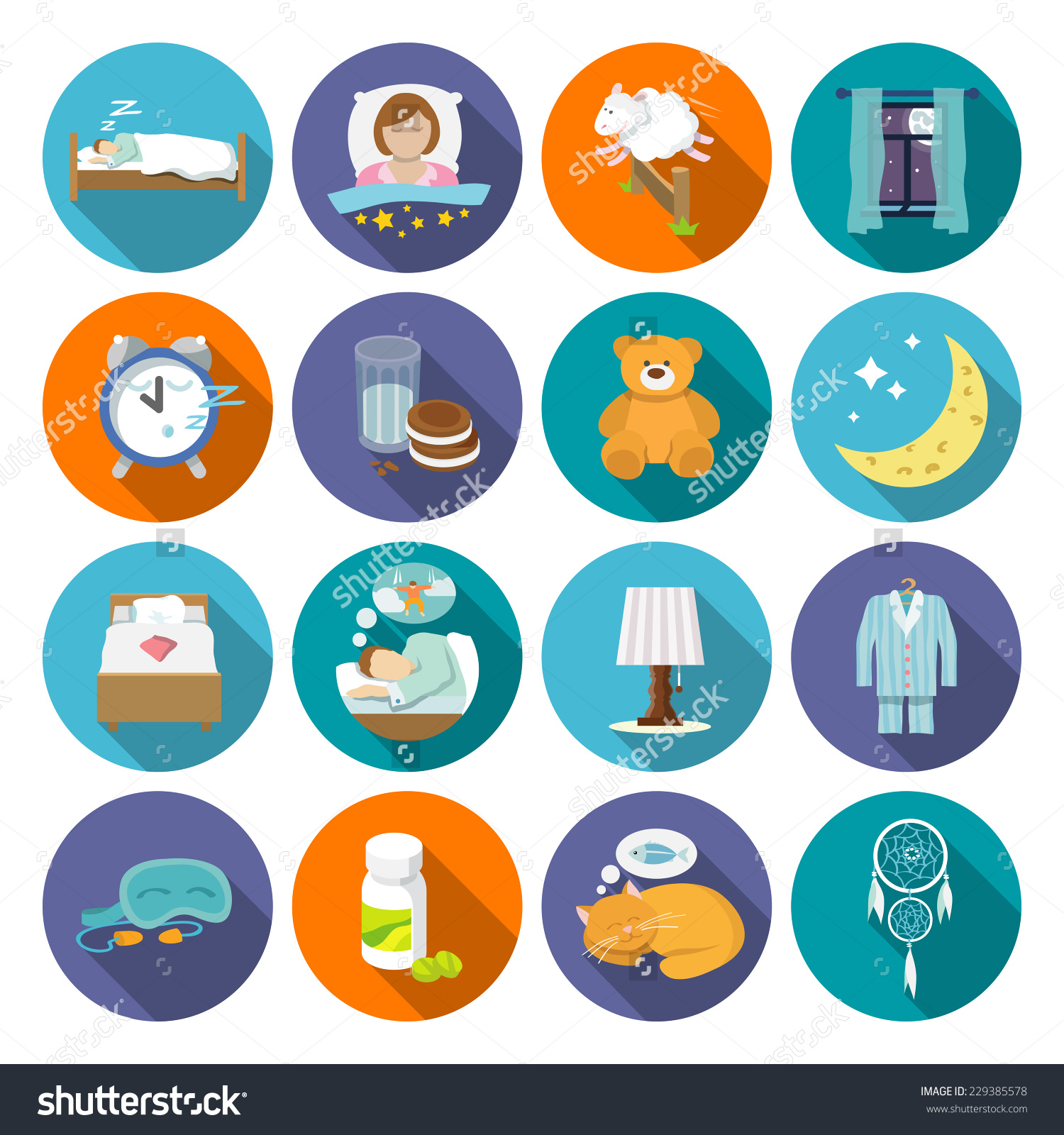 Sleep Time Icons Flat Set Window Stock Vector 229385578.