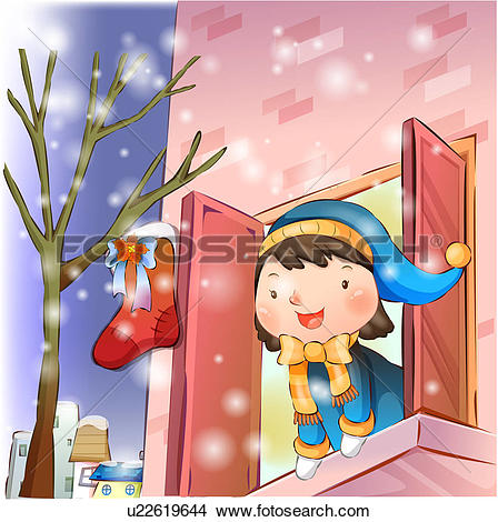 Drawings of Girl in Window at Christmas Time u22619644.