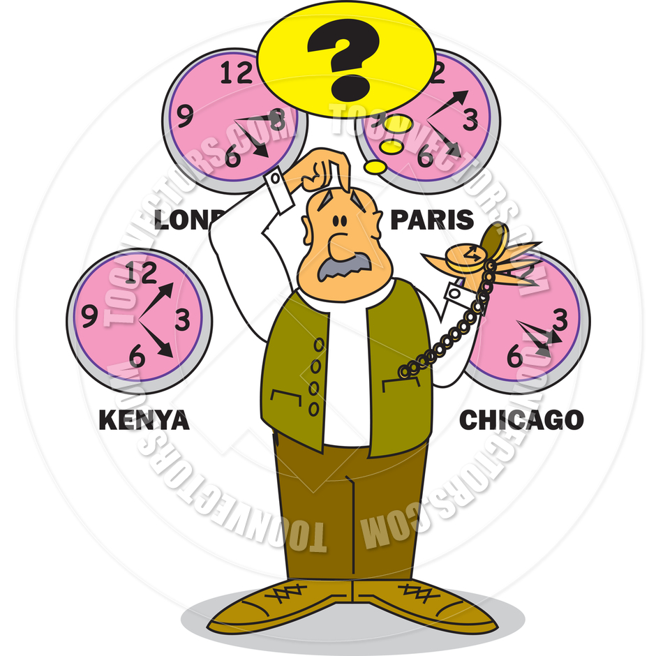 Cartoon Time Zones Vector Illustration by Clip Art Guy.