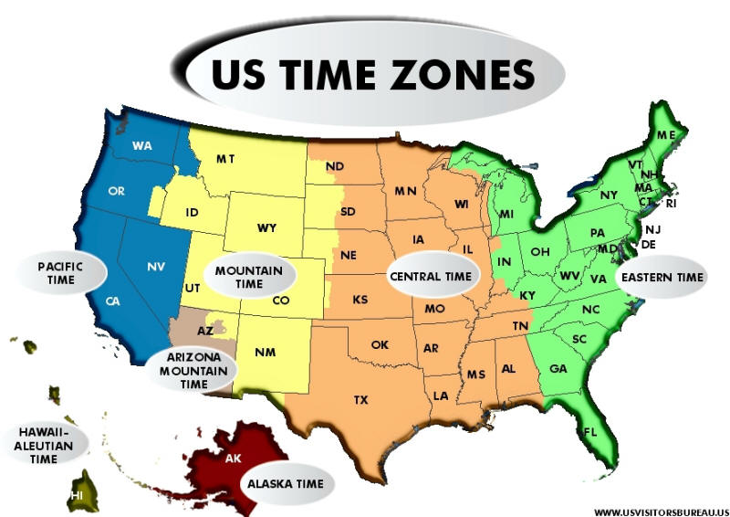 Us Map With Time Zones Printable.