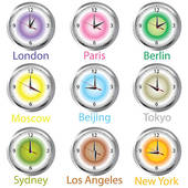 Clipart of Clocks showing the time around the world. Time zone.