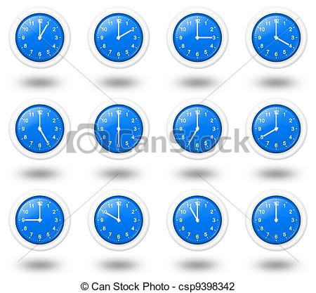 Clip Art of Time Zone Clocks.